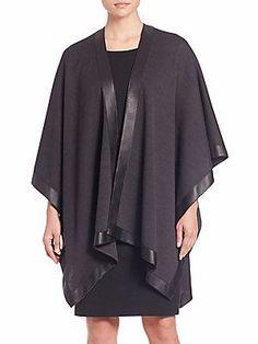 St. John Leather-Trim Milano Wrap - Black - Size Os
