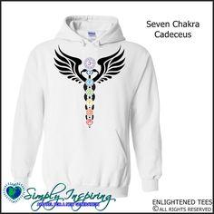 Seven Chakra Cadeceus Enlightenment New Age Hoody Sweatshirt white