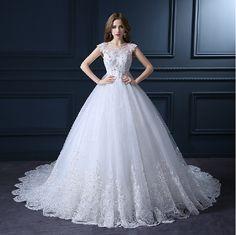 Vestidos de Novia Luxurious Wedding Dress 2017 Long Royal Train Wedding Dresses Vintage Noble Bride Gown