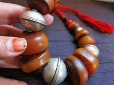 Berber Resin & Old Silver Beads Necklace Morrocan by TuaregJewelry, $258.00