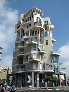 Building with unusual balconies by Avital Pinnick, via Flickr