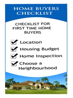 Checklist for First Time #Home #Buyers.. #realestate