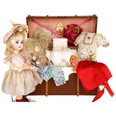 """Bright Eyed Depose Tete Jumeau """"Sarah Anne"""" with Trunk and Large : Doll Heaven 