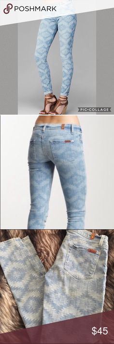 7 For All Mankind Aztec tribal skinny jeans Lightly worn with no rips, stains or holes. Easy to dress up with a pair of pumps or sandals ! 7 For All Mankind Jeans Skinny