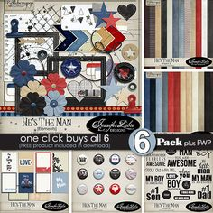 He's The Man: 6-Pack digital scrapbooking collection by Jennifer Labre Designs