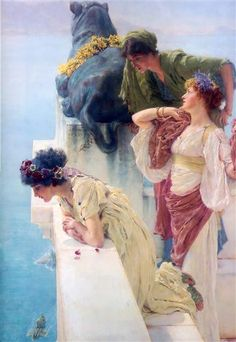 A Coign of Vantage, 1895 by Sir Lawrence Alma-Tadema. Romanticism. genre painting. Private Collection
