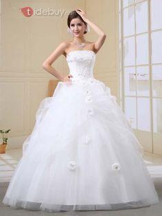 見事なストラップレス床長さ花&ビーズウェディングドレス