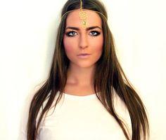 The Augusta: Gold Draped Gypsy Crown Egyptian Headdress Head Band Bohemian Headpiece Head Chain Goddess Head Piece Hippie Hairpiece Indian