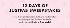 You could be 1 of 12 winners to get a free JustFab style! Info: http://offerpop.com/pinterest/inspiration/7956