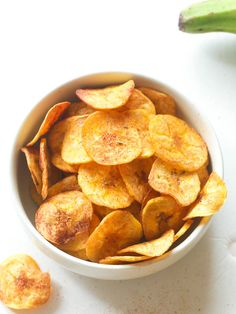 Baked Plantain Chips- so yummy with fresh salsa!