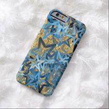 Blue Stars Pattern Faux Gold Glitter iPhone 6 Case