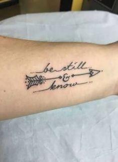 More psalm tattoo be still psalms anxiety tattoos and body art arrows tattoo Wrist Tattoos, Love Tattoos, Body Art Tattoos, Tatoos, Faith Foot Tattoos, Grace Tattoos, Tattoos For Women On Thigh, Tattoos For Women Small, Arrow Tattoos For Women