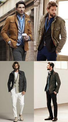 Men'S field/safari jackets worn with tailoring and smart-casual separates - fashion outfit Smart Casual Jackets, Smart Casual Menswear, Mens Fashion Blazer, Preppy Mens Fashion, Moda Formal, Safari Jacket, Field Jacket, Madrid, Vintage