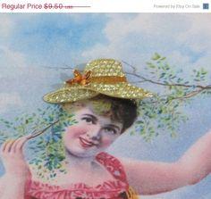 Lucky Sale Vintage Monet Rhinestone Hat Brooch Gold by RitasGarden
