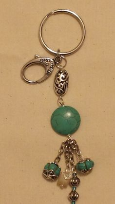 Turquoise and silver beaded key chain by ThreadedStones on Etsy, $7.00