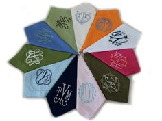 "What is more beautiful on a table than a gorgeous custom monogrammed napkin! I am delighted to present this fabulous line of cotton/linen napkins available in 12 colors and 11 different monogram styles. If you know the prices of monogrammed linens you will undoubtedly recognize the tremendous value here. Here are a few things to note.  Hover over the images to the left to see the font style and linen color name.   	Lead time is approx. 3-4 weeks (feel free to email me for current lead time) 	Napkins are sold in quantities of 4's 	I do offer a discount on orders of 75 or more of the same style (email me) 	All custom monogrammed napkin orders are final sale as they are made to order, absolutely no exceptions. 	The average sized monogram is approx. 3.5"" tall which is a substantial monogram, however if you want a larger monogram 4-4.5"" there is an upcharge of $5.00 per napkin. 	If you want more than two thread colors used, there is an upcharge of $5.00 per napkin 	Napkins measure 20"" x 20""   These are available in a single monogram,  double monogram or triple monogram. For triple monogram please put letters in the order you want them to appear (left to right).  Contact me for large orders (over 75 napkins) for a large order discount."