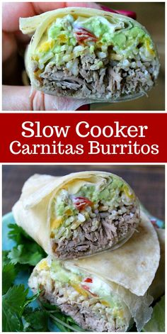 Slow Cooker Carnitas Burritos with Guacamole and Brown Rice.