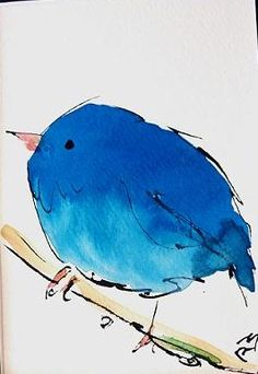 Watercolor Birds by Richard McKey. -----  I LOVE how the artist used a bit of ink outlining.  PERFECT !!!!