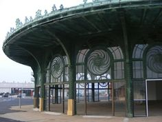These unusual windows known as the Medusa Windows can be found at the Carousel Building in Asbury Park, New Jersey.