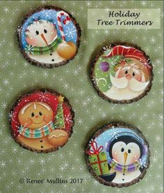 Renee Mullins Packet - Holiday Tree Trimmers-This pattern packet includes the drawings, detailed painting instructions and a colour photo for the designs pictured above. Blue Christmas Decor, Christmas Signs, Diy Christmas Ornaments, Christmas Balls, Rustic Christmas, Christmas Art, Christmas Projects, Christmas Wreaths, Christmas Decorations