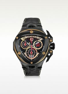 Tonino Lamborghini Black Plated Stainless Steel Men's Chronograph Watch