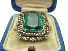 Antique Deco Sterling Silver Huge Emerald Cut Green Glass Paste Marcasite Ring #DRAMATICHANDGRABBER
