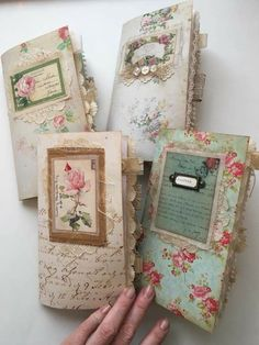 *pic only* Shabby chic travelers notebook collection. Available at Journal Boutique on Etsy Handmade Journals, Handmade Books, Vintage Journals, Journal Covers, Book Journal, Travelers Notebook, Book Crafts, Paper Crafts, Glue Book