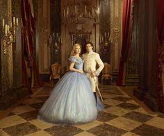 Lily James (with Richard Madden as the prince) on set of Cinderella. - Photo: Courtesy of Disney Studios Gown by Oscar-winning costume designer Sandy Powell