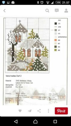 Cross Stitch House, Xmas Cross Stitch, Cross Stitch Cards, Cross Stitch Borders, Cross Stitching, Cross Stitch Patterns, Cross Stitch Christmas Ornaments, Christmas Cross, Embroidery Motifs
