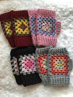 Crochet wrist warmers, grandma square, fingerless gloves, Crochet gloves, gloves without … – Wanderlust Crochet Mitts, Crochet Wrist Warmers, Fingerless Gloves Crochet Pattern, Mode Crochet, Fingerless Mittens, Knit Crochet, Granny Square Crochet Pattern, Crochet Granny, Crochet Squares