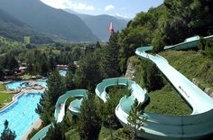 Water slides in Switzerland are especially popular in summer. We picked the 8 best for families. Switzerland Vacation, Journey, Water Slides, Travel Destinations, Places To Go, Things To Do, River, Outdoor Decor, Image