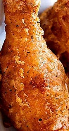 Chicken Batter-Fried Chicken - adapted from Cook's CountryBatter-Fried Chicken - adapted from Cook's Country Fried Chicken Recipes, Baked Chicken, Meat Recipes, Cooking Recipes, Fried Chicken Drumsticks, Deep Fried Chicken Batter, Country Fried Chicken, Cooks Country Recipes, Cooking Food