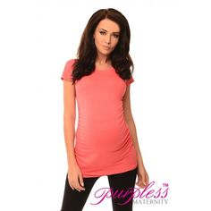 Top T-Shirt 5010 Coral Very stretchy and soft material fits all type of figures. Short sleeves. Ruching on both sides creating lots of space for growing bump. Functional and comfortable, can be worn during and after pregnancy. This top is not only functional, it looks great as well.