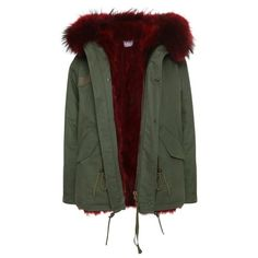 Burgundy Fox Parka ($1,359) ❤ liked on Polyvore featuring outerwear, coats, coats & jackets, fur parka, fur lined parka, fox fur coat, fur-lined coats and fur coat