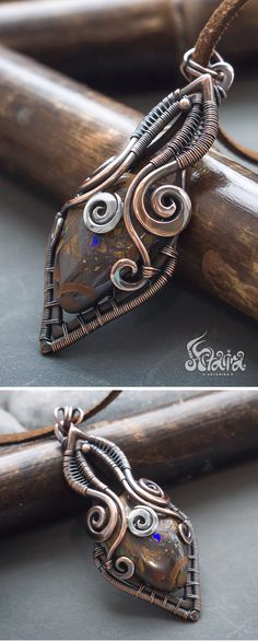 Boulder opal copper wire wrapped pendant // Mixed metals copper and silver necklace with boulder opal // Fantasy wire wrapped opal pendant