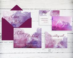 Watercolor wedding invitation printable print by DesignedWithAmore
