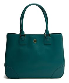 Tory Burch Lull Teal Robinson East-West Leather Tote | zulily