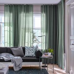 , liliowy, cm, Kupuj online lub w sklepie - IKEA Lilac Living Rooms, Living Room Green, Green Rooms, My Living Room, Living Room Decor, Living Spaces, Ikea Curtains, Green Curtains, Panel Curtains