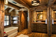 Rustic elegance re-defined in a Big Sky mountain retreat Rustic Mountain Retreat-Pearson Design Kindesign Rustic Bathroom Designs, Rustic Home Design, Rustic Bathrooms, Bathroom Interior Design, Bathroom Layout, Bathroom Modern, Bathroom Sets, Cabin Homes, Cottage Homes
