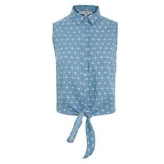 From New Look, Blue Bow Print Tie Front Sleeveless Denim Shirt £14.99