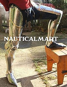 Nauticalmart Renaissance Armor Medieval Steel Full Leg Armour With Brass Fitting - Halloween Costume Medieval Knight, Medieval Armor, Medieval Fantasy, Armadura Medieval, Dark Fantasy, Fantasy Armor, Arm Armor, Body Armor, Costume Armour