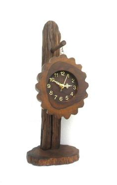 Natural Teak Wood Round Clock Hanging Rustic by WoodCarvingArt