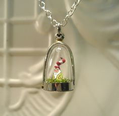 Garden Gnome Terrarium Pendant  gnome with peppermint striped hat  terrarium necklace - Great Valentines Day Gift. $45.00, via Etsy.