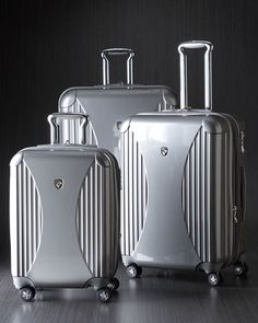 Silver Spinner Luggage by Heys at Neiman Marcus. Extremely lightweight polycarbonate - same material used to manufacture bullet-proof glass, so you knows its durable!