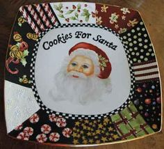 Painting of Santa on porcelain plate with fancy border by porcelain artist and…