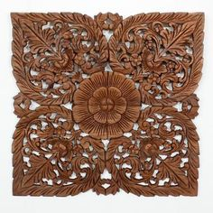 Lotus Flower Teak Panel 24 Square Hand carved teak wood Thai Decor in a light teak oil finish.