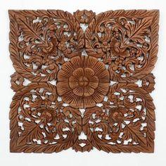 "Lotus Flower Teak Panel 24"" Square    Hand carved teak wood Thai Decor in a light teak oil finish."