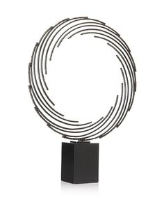 """Platt  Ring Sculpture  Wrought iron, with dark base, base is felted  Dimensions: height 31"""", width 24"""", depth 24"""""""