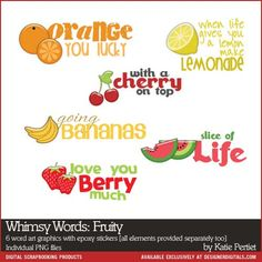 6 different fruity wordart clusters with epoxies, 6 wordart transfers, 6 epoxies. Apple Fruit, Photograph Album, Slice Of Life, Word Art, Digital Scrapbooking, Words, Apple, Horse, Album Photos
