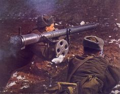 Czechoslovak People's Army troops aim a Tarasnice 21 recoiless rifle Warsaw Pact, Military Weapons, Military Uniforms, Soviet Army, East Germany, Army Soldier, Dieselpunk, Cold War, Military History